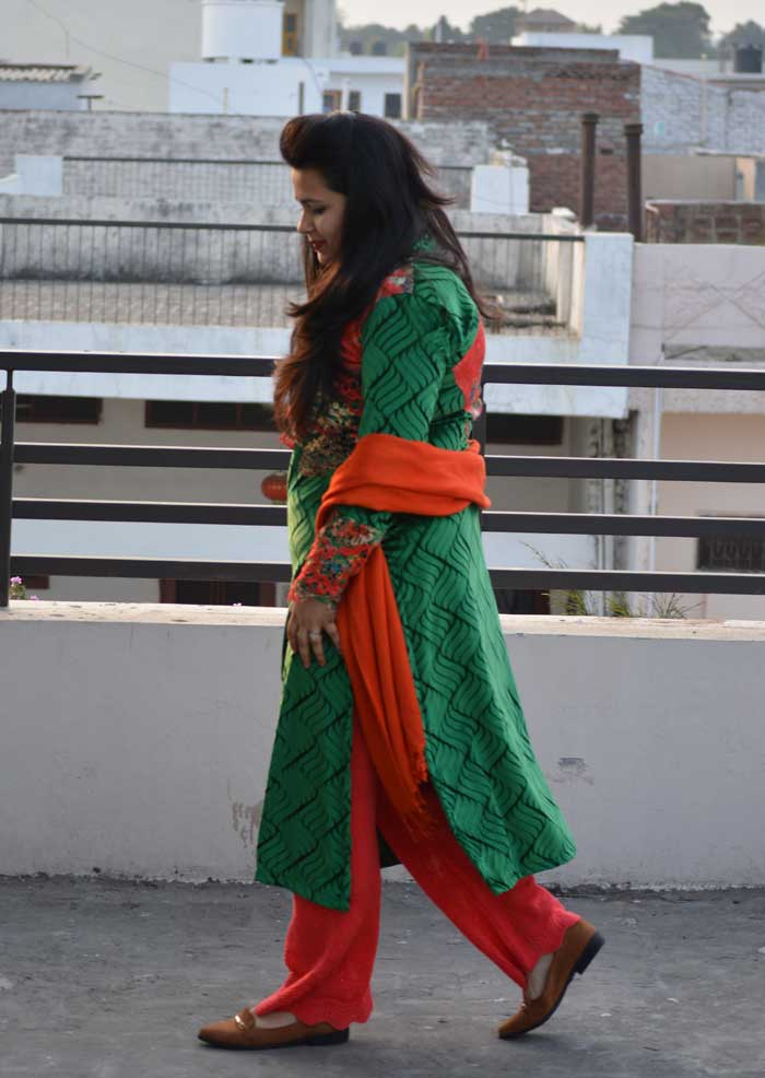 How to style Orange and Green Indian Outfit